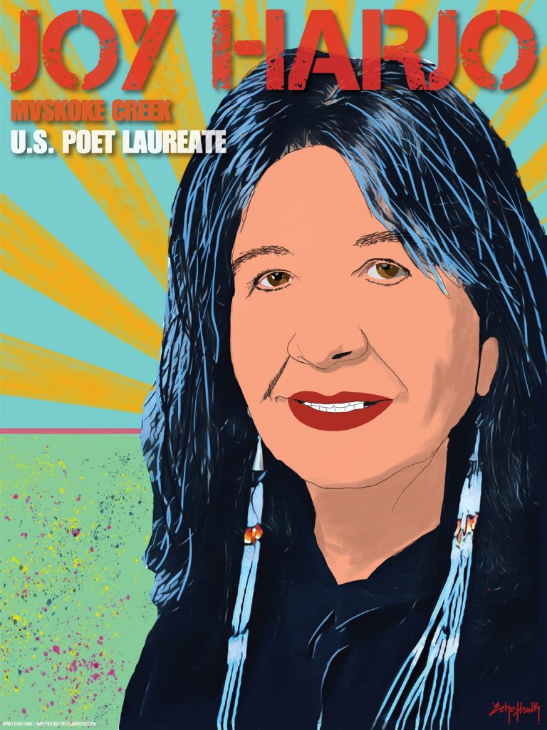 Illustration of Joy Harjo from IllumiNative and Amplifier's project Native Education for All. Text says Joy Harjo, Muskoke Creek, US Poet Laureate.